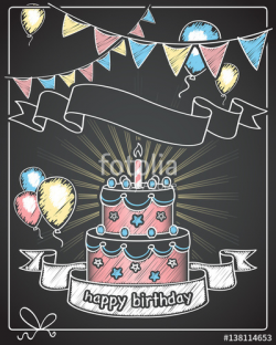 happy birthday / chalkboard banner with empty text space