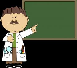 Teacher Pointing To Chalkboard Clip Art Image Man Science Teacher ...