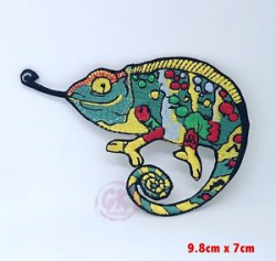 Chameleon Common Colourful clipart gecko iron on Sew on Embroidered ...