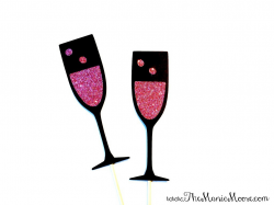 Photo Booth Props Set of 2 Pink Champagne Glasses GLITTER