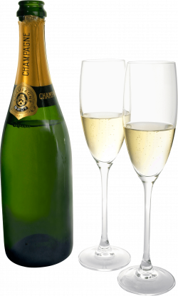 Champagne Two Glasses Bottle transparent PNG - StickPNG