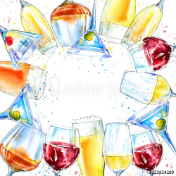 Frame of a champagne,cognac, wine,martini, beer and glass. Border of ...