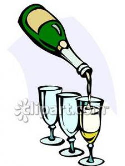 Champagne Being Poured Into Glasses - Royalty Free Clipart Picture