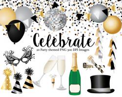 Celebration clipart, Champaign bottle, champaign glasses, top hat ...
