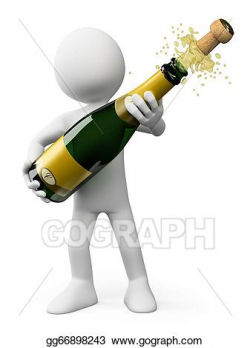 Drawing - 3d white people. popping the cork of a bottle of champagne ...
