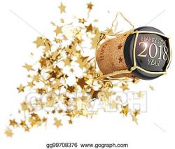 Stock Illustration - Champagne bottle cork popping above golden ...