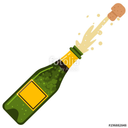 Champagne bottle cork explosion. Vector cartoon flat icon of ...