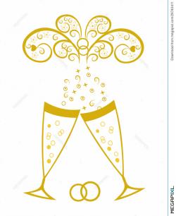 Champagne Glasses.golden Wedding Celebration Illustration 26740411 ...