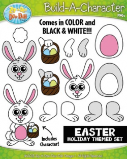 Easter Bunny Build-A-Character Clipart {Zip-A-Dee-Doo-Dah Designs}