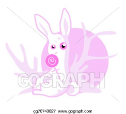 Vector Art - Pink sugar bunny character. Clipart Drawing gg70740027 ...
