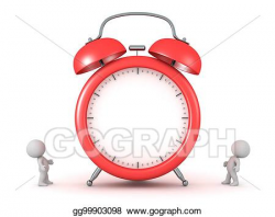 Stock Illustrations - 3d characters and large alarm clock. Stock ...