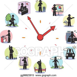 EPS Vector - Daily routine clock characters concept. Stock Clipart ...