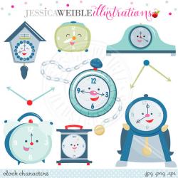 Clock Characters Cute Digital Clipart - Commercial Use OK - Cute ...
