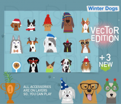 Dog Winter Clip Art, Dog Clipart, Animal clipart, Dog Characters, Pets,  Puppy Clipart, Lovely Puppies, Dog Mascot, Vector clip art