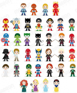 Superhero Inspired Characters Clip Art for Birthdays by elmarron ...
