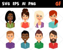 Characters vector clipart svg persons persons clip art flat