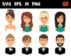 Business persons vector clipart svg characters vector
