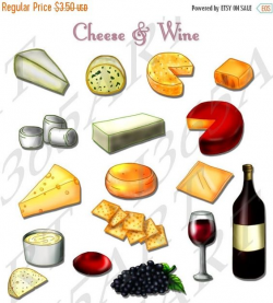 Cheese Clipart, Crackers, Wine and Grapes, Vector 17 Clip art ...