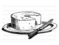 Cheese and Knife on Platter Clip Art Vintage Printable Food ...