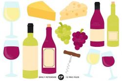99 CENT SALE Wine Clip Art Cheese Clipart Grapes Clip Art | digital ...