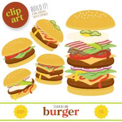 Burger Clip Art Food Clipart Hamburger from EclairdeLune1 on Etsy Studio