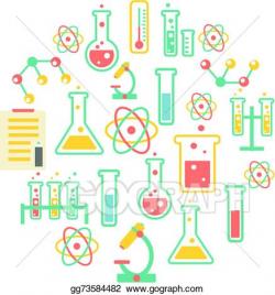 Vector Illustration - Chemistry icons background. Stock Clip Art ...