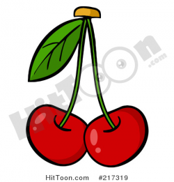 Cherries Clipart #217319: Two Cherries on Stems with a Leaf by Hit Toon