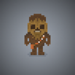 Famous Characters in Pixel Art • Chewbacca or Chewie from
