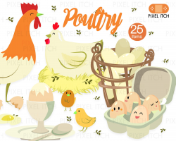 Poultry Illustration - Farm Clipart, Farm Produce, Chicken Clipart ...