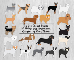Toy Dog Clipart Bundle 20 Small Dog Breeds Pet Scrapbooking Graphics ...