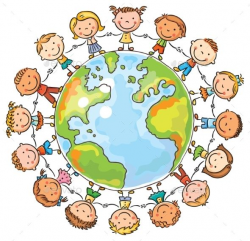 Happy cartoon children round the Globe as a symbol of peace ...