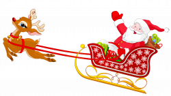 Santa and Reindeer with Sled PNG Clipart | Новый год | Pinterest | Santa