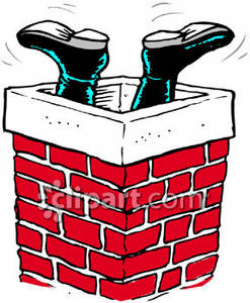 Santa Claus' Feet Sticking Out of a Chimney Royalty Free Clipart Picture