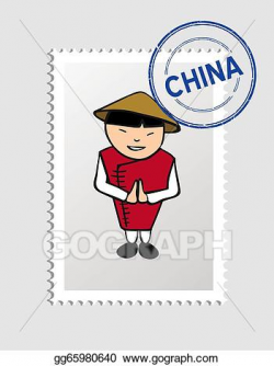 Vector Art - Chinese cartoon person postal stamp. Clipart Drawing ...