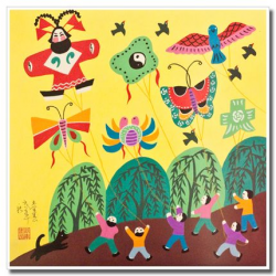 Chinese peasant painting, folk art, kids, colorful kites | Chinese ...