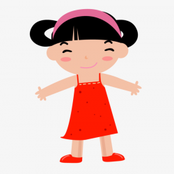Red Chinese Girl Student, Red, China, Little Girl PNG and Vector for ...
