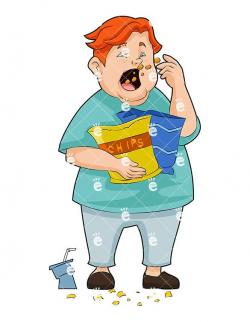 Fat Man Eating Potato Chips Cartoon Vector Clipart