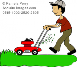 Clip Art Illustration of an Asian Boy Mowing the Lawn