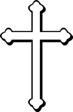 White cross w/ gray outline, black shadow, and light gray background ...