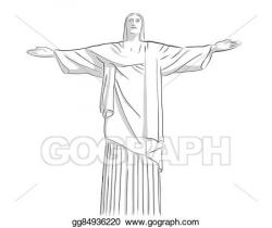 Vector Art - Christ the redeemer statue outline sketch ...