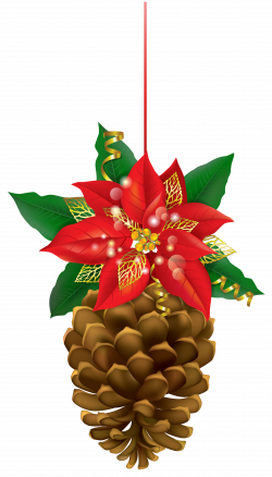 Christmas Pinecone with Poinsettia PNG Clipart Image | Gallery ...