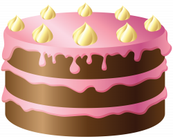 Chocolate Cake with Pink and Yellow Cream PNG Clipart | Birthday ...