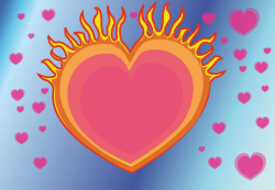 Clipart - heart on fire