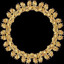 Clipart - Gold Floral Flourish Motif Frame No Background