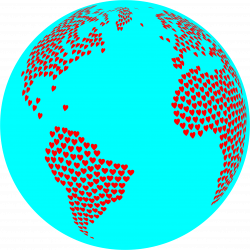 Clipart - Hearts Globe With Ocean
