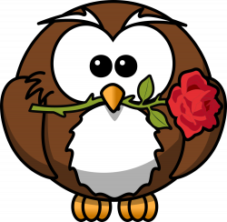 OnlineLabels Clip Art - Owl With Rose