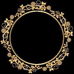 Gold Round Floral Border Transparent PNG Clip Art Image   etiquetas ...