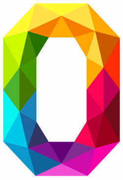 Colourful Triangles Number Zero PNG Clipart Image | More Numbers ...