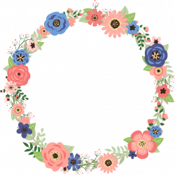 CORAL AND NAVY FLORAL WREATH READY TO PRESS TRANSFER - Blue Phoenix ...