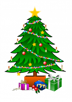 This nice Christmas tree with presents clip art can be used for ...
